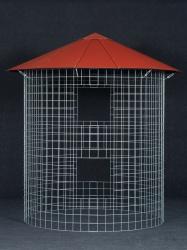 Dreváreň veľká 6 m³ s hliníkovou strechou - červená