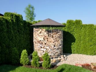 Velký dřevník 6m³ - střecha z hliníkového plechu - hnědá